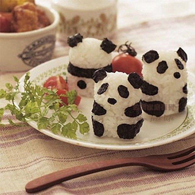 約翰家庭百貨AF240熊貓寶寶身形飯糰模具海苔刻板3件套組熊貓便當輕鬆做
