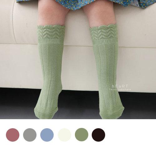 韓國文青雕花翻邊純色止滑長襪 童襪 止滑襪 防滑襪 蕾絲雕花 棉襪