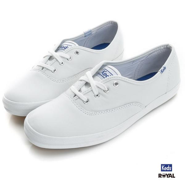 Keds新竹皇家CHAMPION LEATHER白色皮質休閒鞋女款NO.I6825
