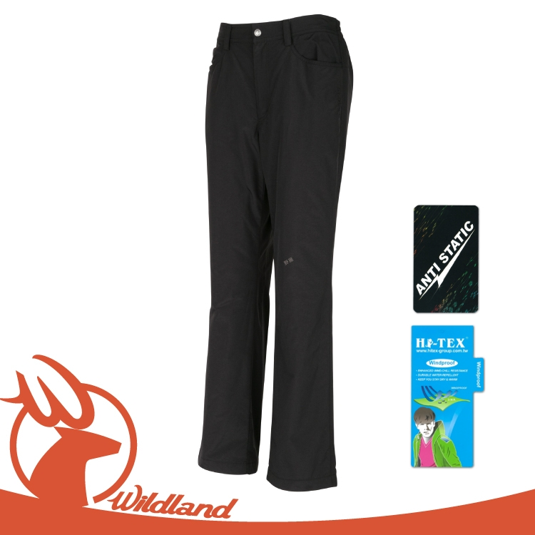 【Wildland 荒野 女 防風防潑水保暖長褲《黑》】W2301/防風保暖/彈性纖維/抗靜電/防潑水處理