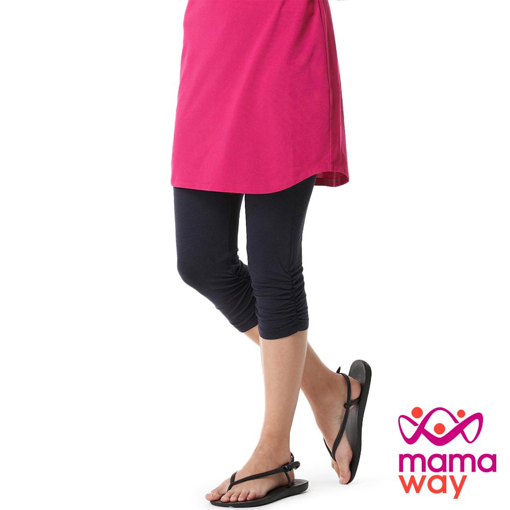 mamaway媽媽餵孕婦抽皺七分貼腿褲共5色孕婦褲內搭褲貼腿褲