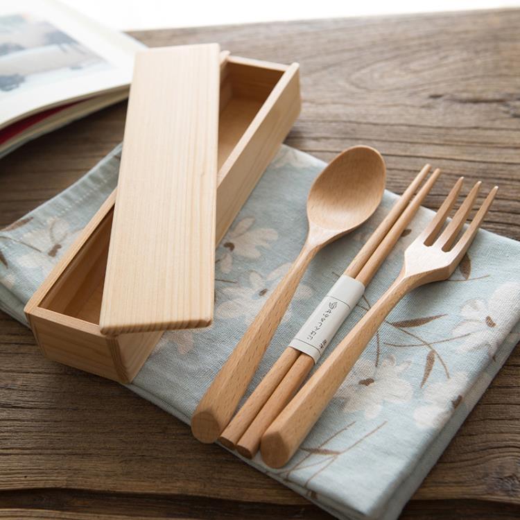 日式便攜餐具 木叉套裝 叉子筷子餐具套裝木筷盒
