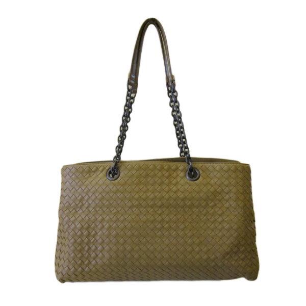 巴黎站二手名牌專賣店Bottega Veneta BV真品駝色編織羊皮雙層肩背包手提包