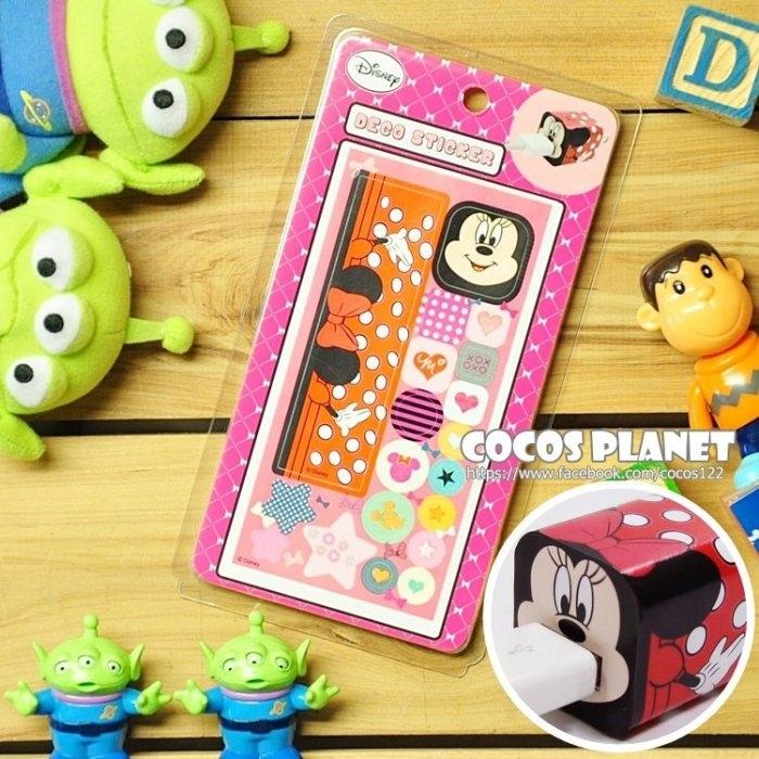 迪士尼裝飾貼紙米老鼠米妮IPHONE豆腐充貼紙插頭貼紙COCOS PL055