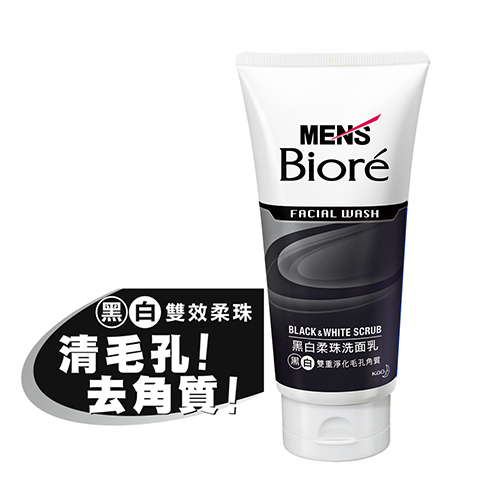MEN s Biore男性專用黑白柔珠洗面乳100g花王旗艦館