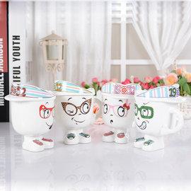 卡通帽子陶瓷杯韓版個性表情新奇飲水杯畢業禮物送同學老師隨機出貨預購CH384