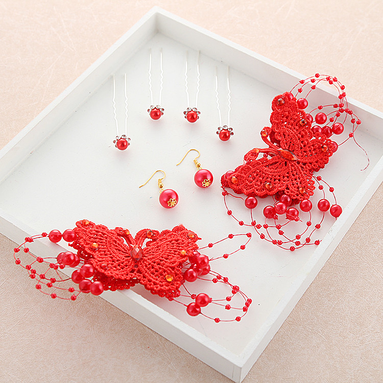 新娘頭飾蕾絲手工紅色蝴蝶結夾子鑲水鉆珍珠發夾中式旗袍敬酒頭花【印象閣樓】