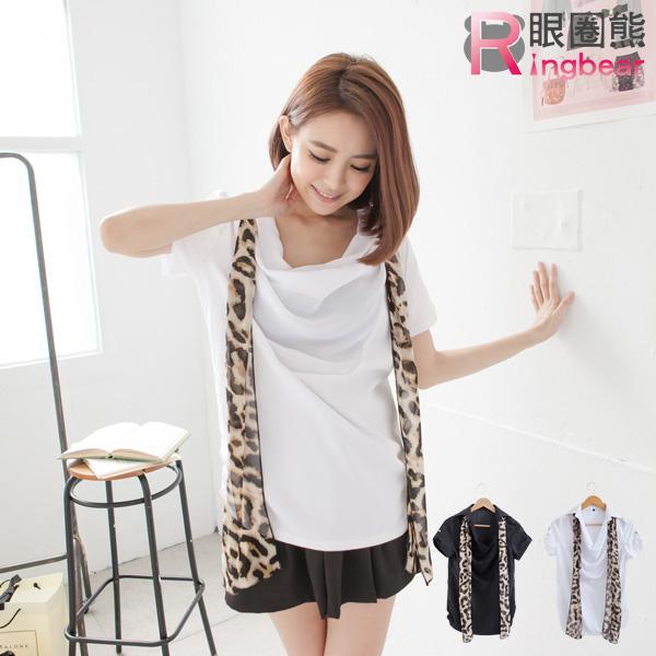 加大尺碼--氣質女孩雪紡多層垂領泡泡袖豹紋絲巾短袖上衣(白.黑M-2L)-H148眼圈熊中大尺碼