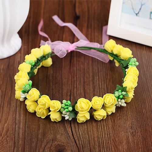 花環頭飾發飾頭環手環 森女海邊兒童 新娘花朵發箍 頭箍(花仙子)黃色)花環─預購CH1745