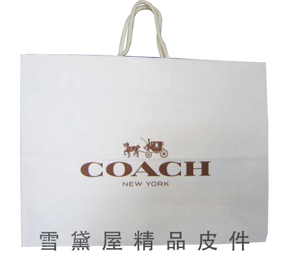 雪黛屋~COACH紙袋國際正版男女包紙提袋進口厚紙材質可摺疊收納展開為提袋大型可放A4資料夾5044