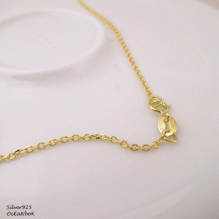 海洋盒子18吋細緻漂亮純銀鍍金色義大利純銀細鍊925純銀