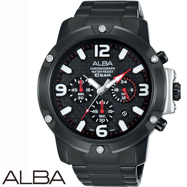 ALBA鋼釘外框數字三眼黑鋼男錶x45mm公司貨AT3825X1 VD53-X218SD名人鐘錶高雄門市