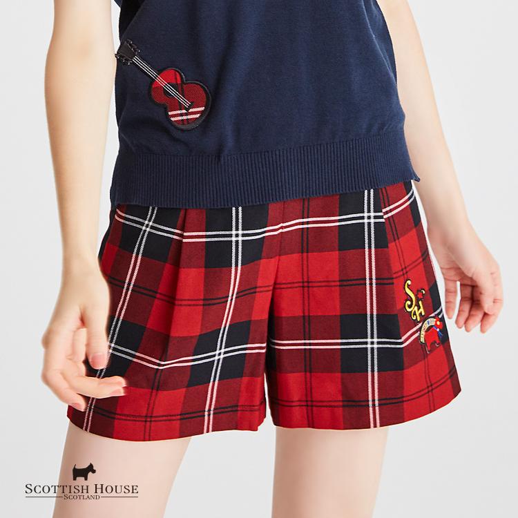 【紅黑格】兩側配布及品牌logo織標格紋短褲 Scottish House【AH2205】