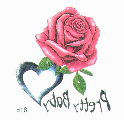 薇嘉雅 玫瑰花  超炫圖案刺身貼紙 d18