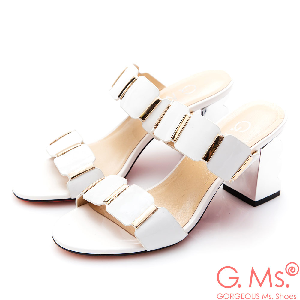 G.Ms.漆皮金色飾釦波浪高跟涼拖鞋*白色
