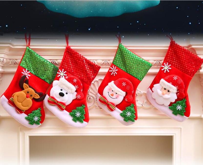 聖誕用品中號亮片聖誕襪子兒童糖果襪禮物袋禮物襪牆面裝飾佈置預購CH2451