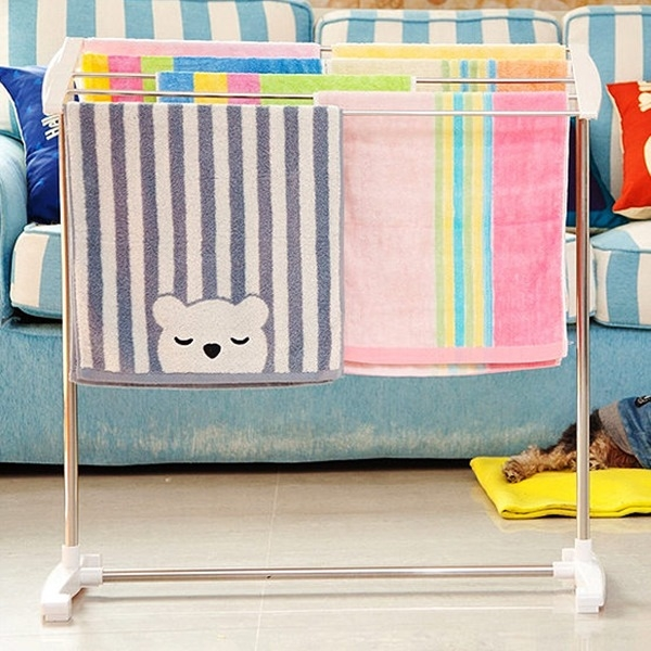 ♚MY COLOR♚斜面不鏽鋼晾曬架 毛巾 落地式 內衣 抹布 室內 陽台 置物 曬衣 浴巾 多杆 【W10】