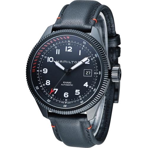 Hamilton 卡其黑鷹轟炸自動計時腕錶 H76695733