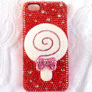 iPhone5S珍珠紅鑽棒棒糖公仔貼鑽手機殼第二件1元
