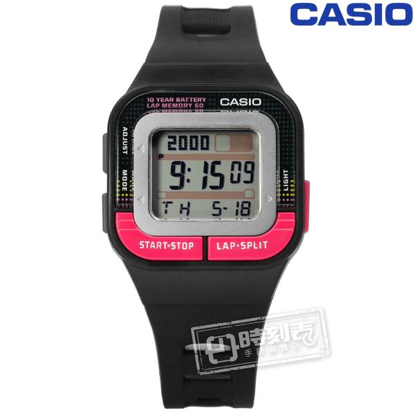 CASIO SDB-100-1B 10年電力慢跑運動方型計時電子手錶黑色34mm