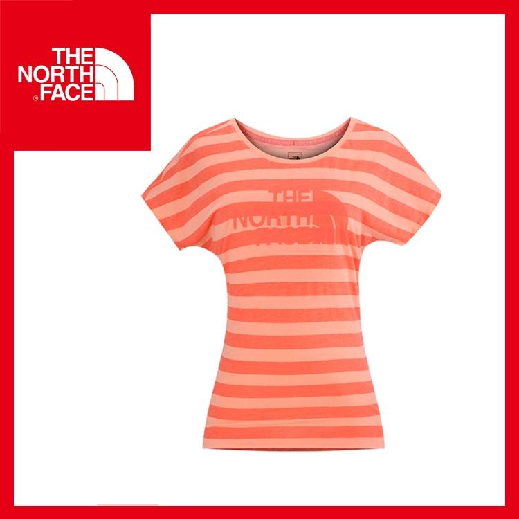 【The North Face 女 LOGO T恤《火燼橘/淺橘》】CS68/休閒/圓領Tee