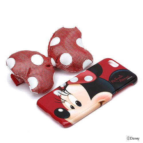 尼德斯Nydus*日本正版迪士尼米妮硬殼蝴蝶結手機殼可立式4.7吋iPhone 6