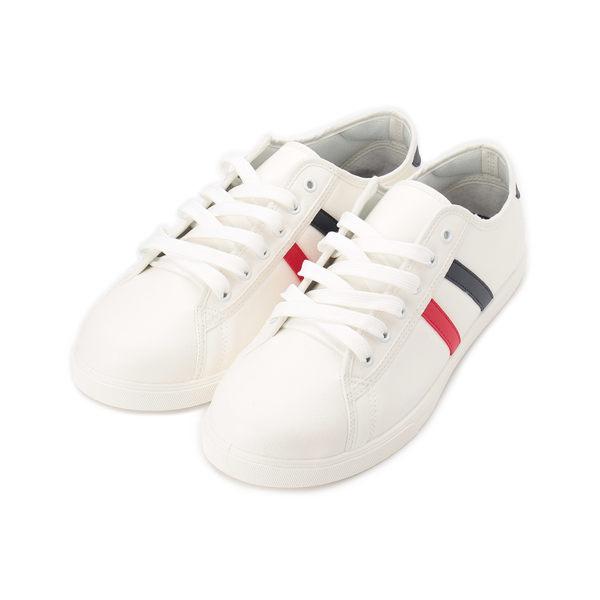 雙色邊飾綁帶休閒鞋 白 A01 男鞋 鞋全家福