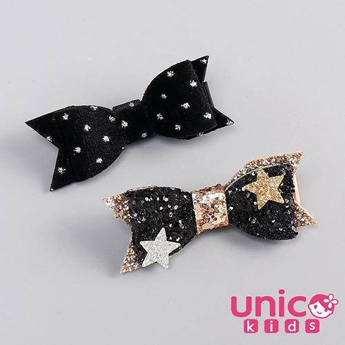 UNICO 兒童 歐美小神秘感黑系公主全包布蝴蝶結髮夾-2入組