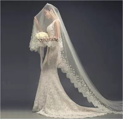 蕾絲新款婚紗頭紗超長300cm結婚韓式婚禮長款軟頭紗-1087920023
