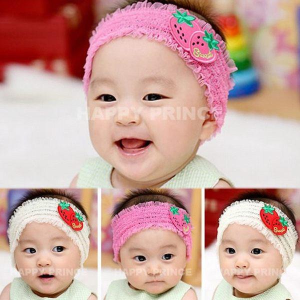 童裝CUCU芯衣草~韓版草莓造型蕾絲結髮帶