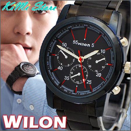 WILON威龍炫黑極酷仿三眼賽車款手錶agnes b相似款型男錶女錶中性錶對錶KIMI store