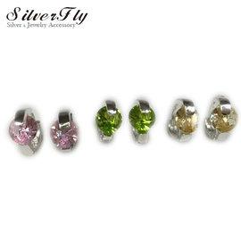 SilverFly銀火蟲銀飾易扣式單鑽純銀耳環-耳骨耳垂適用