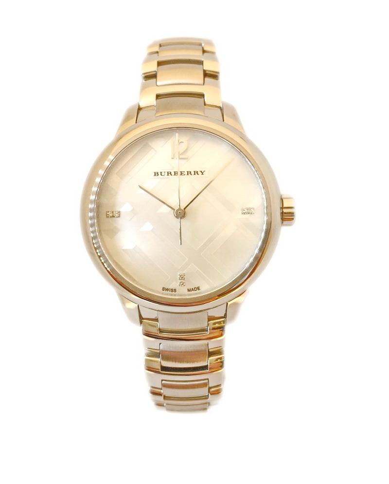 BURBERRY瑞士原裝BU10110立體格紋天然珍珠母貝真鑽系列腕石英腕錶32mm
