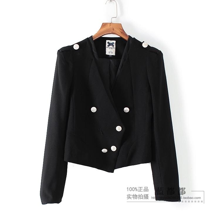 [超豐國際]拉春秋裝女黑色長袖短款時尚休閑西裝外套 2547(1入)