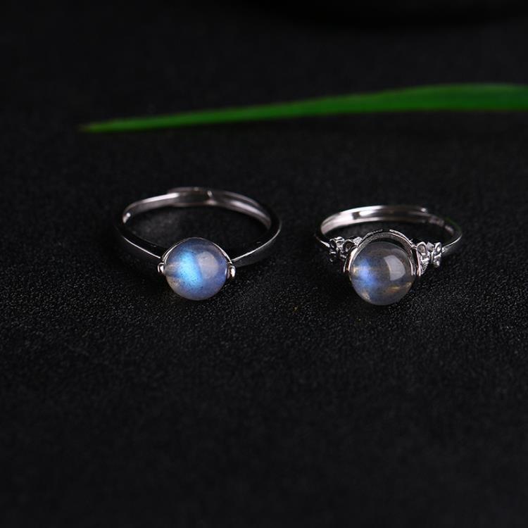 天然巴西藍月光拉長石轉運珠戒指925純銀女