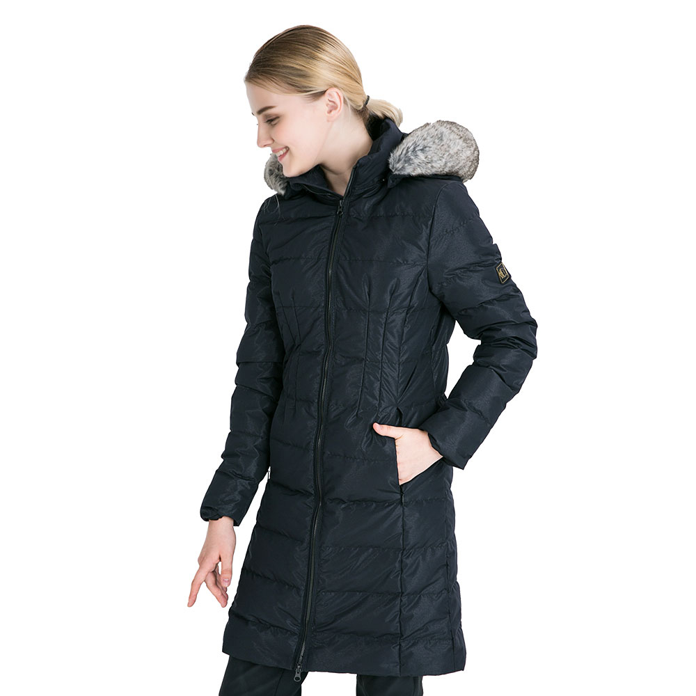 女-時尚經典修身防潑水鵝絨長版羽絨外套(88135)