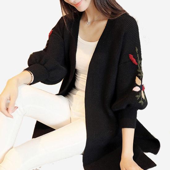 刺繡厚實長袖中長款粗針毛衣雙口袋外套 (軍綠 黑  米白)三色 (M8FW) 11722014