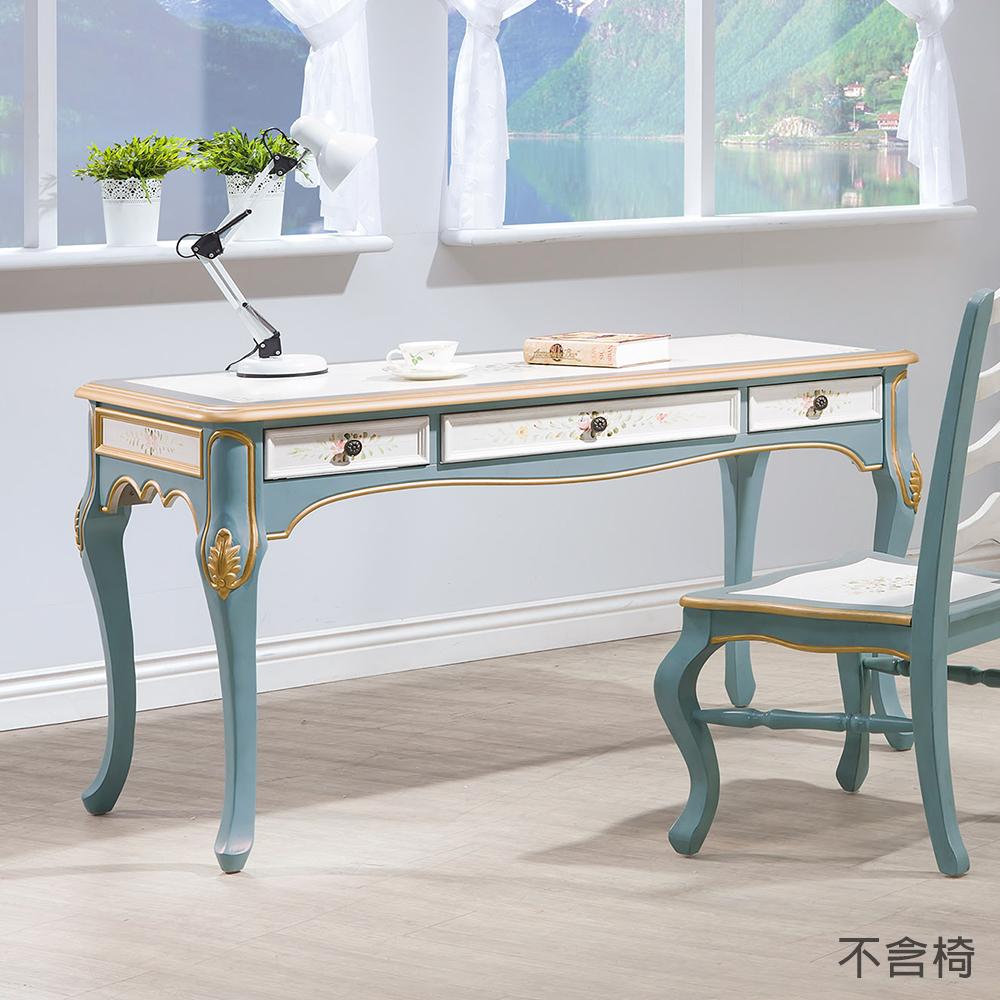 森可家居維多莉亞歐式4.5尺書桌不含椅6HY459-4兼化妝檯歐法式仿古鄉村風仿舊