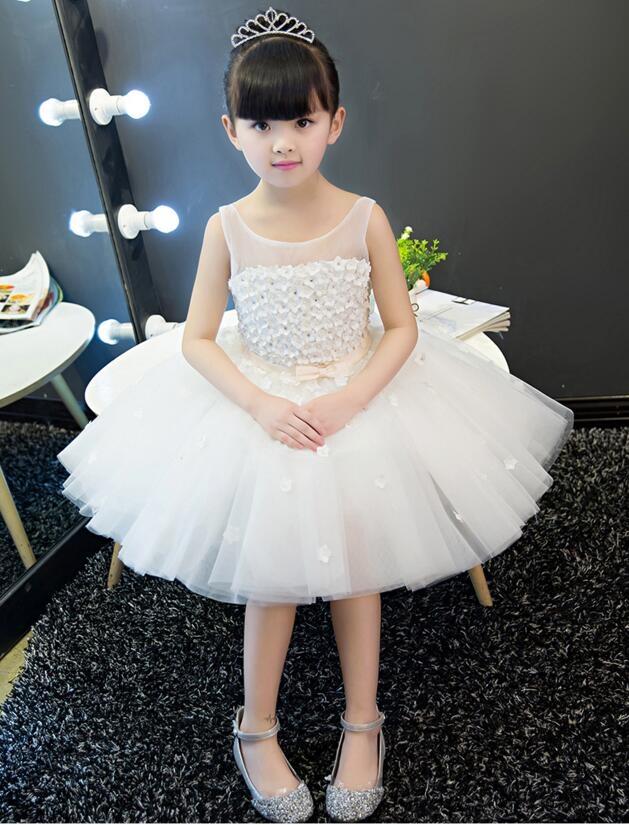 熊孩子兒童禮服裙女公主裙白色