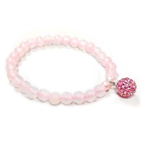 粉紅水鑽球與粉晶圓珠彈性手環