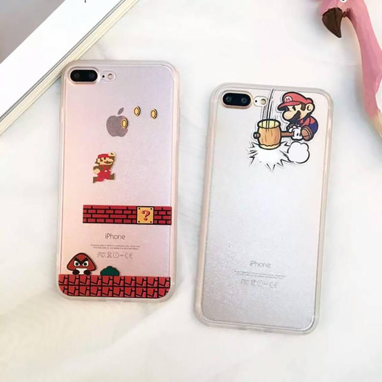 紅荳屋卡通馬里奧蠶絲紋蘋果iphone7手機殼6plus全包軟邊5s保護套6s