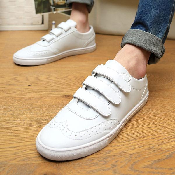 休閒鞋PINKPOKO潮流學生百搭基本款素面防水透氣魔鬼氈設計懶人潮鞋運動板鞋2色1215