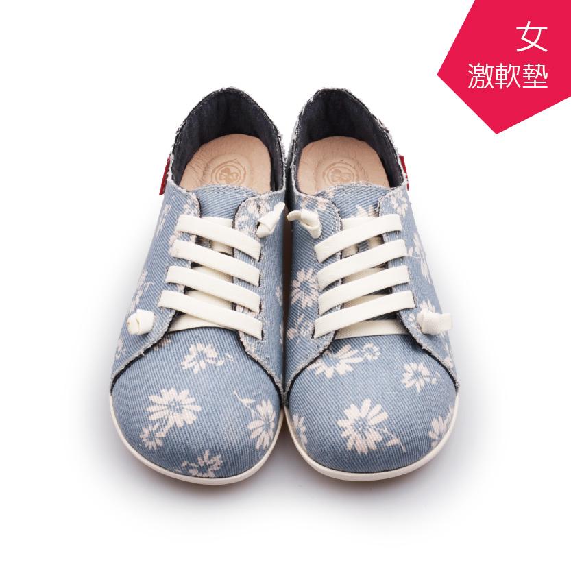 A MOUR經典手工鞋花紋饅頭花淺藍氣墊鞋平底嚴選亞麻布超軟饅頭鞋DH-2722