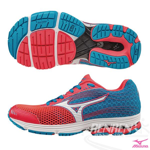 MIZUNO美津濃WAVE SAYONARA 3 W女慢跑鞋珊瑚紅*藍2016新款