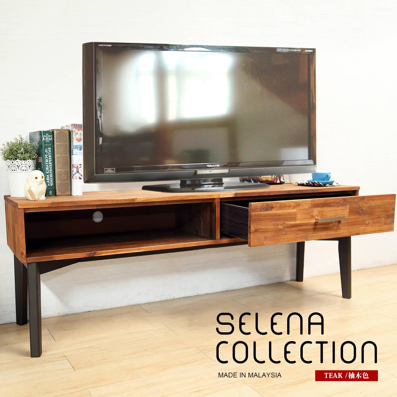 selena 北歐系列實木5.3尺電視櫃/長櫃(SGV/80151柚木色實木5.3尺電視櫃)【obis】
