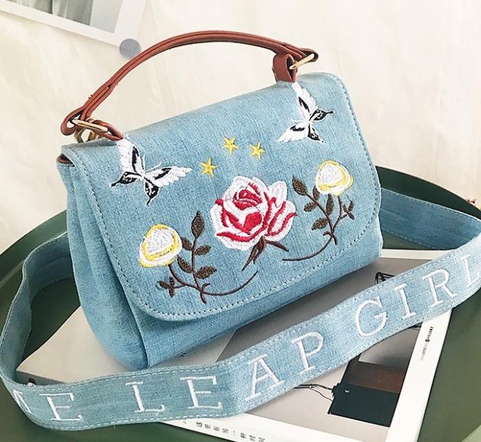 Denim Janes bag熱銷歐美高級牛仔布料刺繡花朵小方包牛仔包丹寧包肩背斜背包