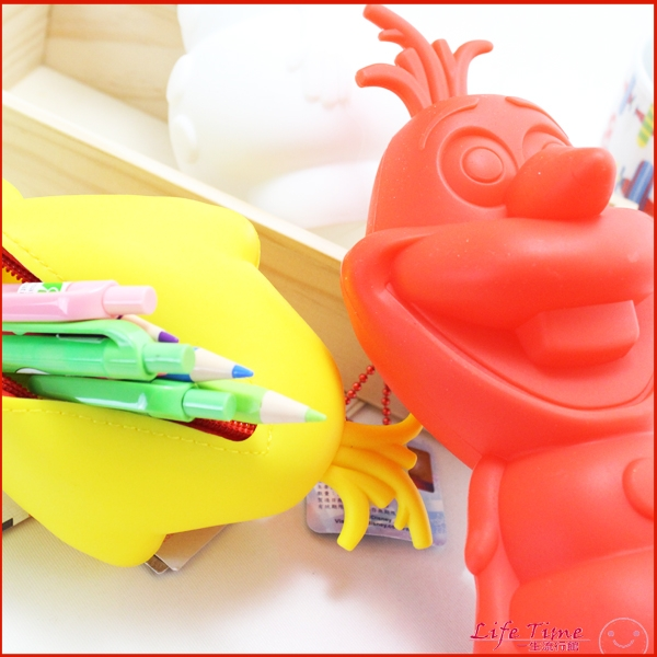 雪寶 正版冰雪奇緣迪士尼立體矽膠鉛筆袋 鉛筆盒文具 C01638