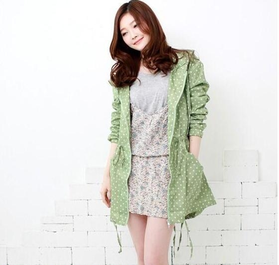 新款 進口 日本 韓國 時尚 圓點 點點 雨衣 超輕薄 女士 雨衣