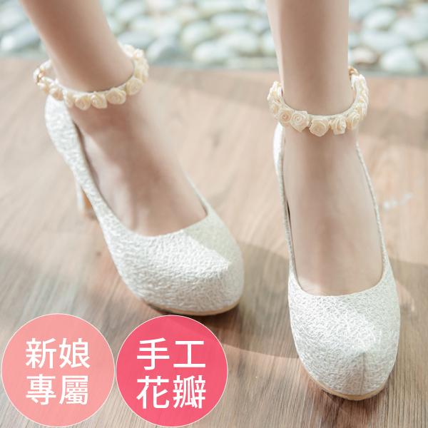 Ann S Bridal幸福婚鞋細膩玫瑰繫帶厚底跟鞋-白