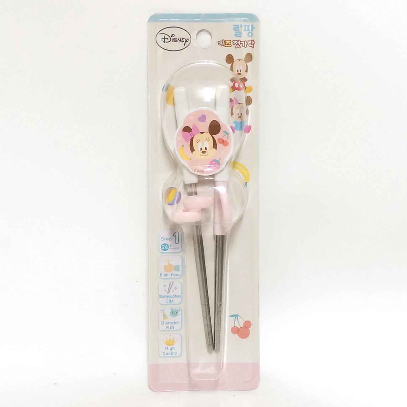 韓國lilfant迪士尼不鏽鋼學習筷右手粉米妮9270韓國筷子-超級BABY